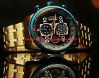 Invicta Mens Aviator Blue Dial Chronograph 18KT Gold-Plated SS Bracelet Watch