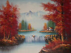 Snowy Mountains Tree Forest Large Oil Painting Canvas Landscape Art River Water
