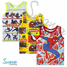 Official Spiderman Marvel Boys Boxer Vest, 100% Cotton New Summer 2016 2-8 Years
