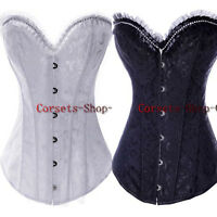 Floral Satin Sexy Boned Burlesque Corset Waist Training Basque Xmas