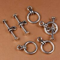F8422*25Sets Tibetan Silver 10mm Round Bead Toggle Clasps Metal Jewelry Findings