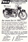 1961 BSA ROYAL TOURIST MOTORCYCLE ~ SMALLER ORIGINAL PRINT AD