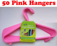 50 x Childrens Baby Plastic Coat Hangers Coathangers Kids Toddler Clothes - PINK