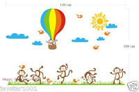 Xtra Large Reusable Dancing Monkey&Hot Air Balloon Kids Room Decal Wall Stickers