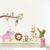 Huge Safari Animals Zoo Reusable Wall Stickers Girls Children's Room Art Decal