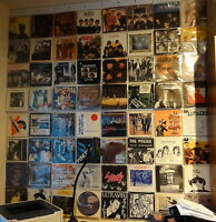 """Display 64 x 7"""" inch Vinyl Record 45RPM Singles in Wall Hanging Sleeves Pockets"""