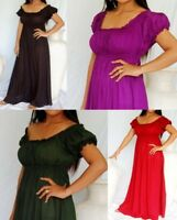 Boho Chiffon Peasant Gypsy Maxi Dress 12 14 16 18 20 Empire Victorian Regency