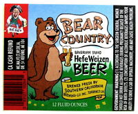 Southern California Brewing BEAR COUNTRY HEFE WEIZEN BEER beer label CA 12 oz