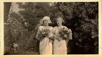 Vintage Antique Photograph Bride and Bridesmaid With Flowers Wedding