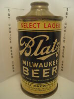 BLATZ SELECT LAGER IRTP FLAT BOTTOM 4 1/2% CONE TOP BEER CAN #153-5  MILWAUKEE