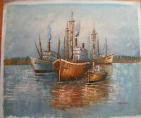 "BOATS SEA ART OIL PAINTING 20x24"" BARGAIN"