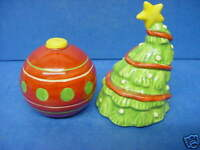 CHRISTMAS TREE & BAUBLE ORNAMENT SALT & PEPPER POTS FESTIVE CONDIMENT CRUET SET