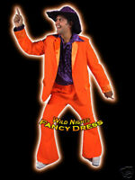 FANCY DRESS COSTUME * DELUXE 70'S DISCO SUIT ORANGE LG