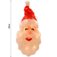 Christmas Decoration - 60cm Festive Light Up Wall Hanging Santa Claus Head