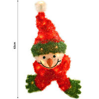 Christmas Decoration - 63cm Wall Hanging Festive Light Up Snowman Head With Hat