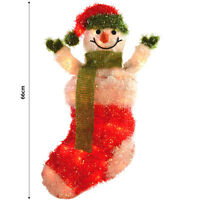 Christmas Decoration - 66cm Festive Light Up Wall Hanging Snowman Stocking