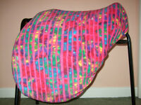 Horse Saddle Cover Fitted & Adjustable Polar Fleece ALL SIZES VARIOUS PRINTS