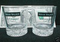 SET OF 2 HIRAM WALKER SCHNAPPS DECORATIVE SHOT GLASSES