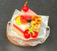 Three Cakes On A Glass Plate Dolls House Miniature