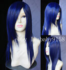 Hot Sell! New long Black Blue Cosplay Party Straight Wig N.005