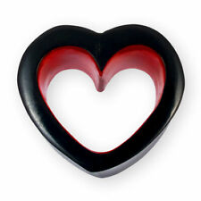 6-30 mm HORN FLESH TUNNEL PLUG HERZ HEART ROT SCHWARZ EAR BODY PIERCING TUBE bh