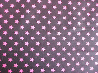 BLACK WITH PINK STARS FABRIC 100% COTTON PER 1 METRE 8MM STAR