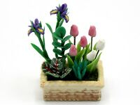 1:12 Scale Mixed Flowers In A Ceramic Bed Dolls House Miniature Flower Garden