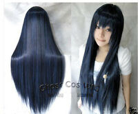Hot Sell! COS WIGS New Long Cosplay Blue Black Straight Wig   N.00012