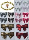 FABRIC SEQUIN BOW TIE IRON-ON GEM bead BLING BABY KID CLOTH CRAFT TRANSFER PATCH