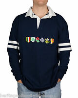 Six Nations Mens Long Sleeve Rugby Top T-Shirt, Navy, All Sizes!