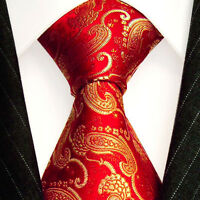 84182 LORENZO CANA Gold Red Paisley 100% Silk Neck Tie Italian Tradition