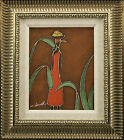 Black Woman Red Dress Fruit Basket on Head Africa FRAMED OIL PAINTING