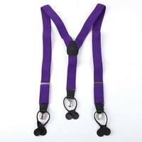 SP2003 purple checkers mens Suspenders Clip-end Brace Y-Back genuine Leather Y&G