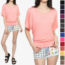 MOGAN Solid Colored Jersey BOAT NECK DOLMAN TOP Drape Short Sleeve T-Shirts S-3X