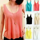Korean Fashion Women Chiffon Candy Color Sleeveless Shirt Blouse Tops Solid Vest