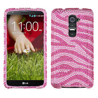 LG G2 4G LTE Crystal BLING Hard Protector Case Snap On Phone Cover Pink Zebra
