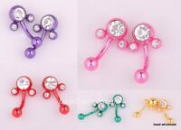 """10pcs mixed """"Mouse Belly""""Bar Button Navel Ring crystal body Piercing 25mmx11mm"""