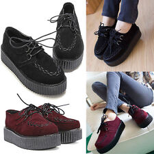 Women Lace Up High Goth Punk Creepers Checker Platform Flats Ankle Shoes Boots