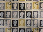 PRESTIGIOUS FIRST CLASS CHARCOAL STAMPS BLACK GREY YELLOW COTTON CURTAIN FABRIC