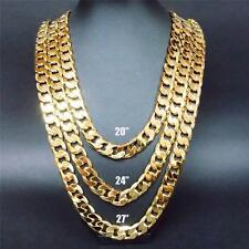 "24""/27""/30"" Stapmed ITALY 12MM Heavy Yellow Gold Filled Chain Link Necklace"
