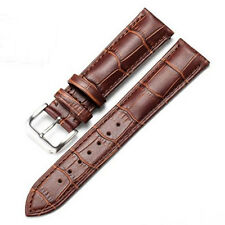 Genuine Leather Watch Band Strap Black/Brown Women Men Stainless Steel Buckle