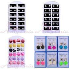 Cute Wholesale lots 12 Pairs Faceted Round Style Earrings Stud Jewelry Fashion