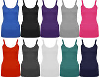 New Ladies Strappy Stretch Ribbed Vest Top Womens 8 -14