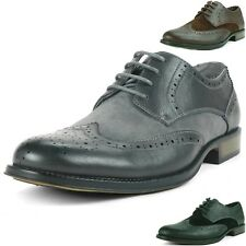 Mens Wing Tip Dress Shoes Lace Up Oxfords TwoTone Brogue Medallion Leather Lined
