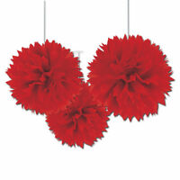 3 x Large Red paper Fluffy hanging decorations tissue Pom Poms