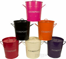 Kitchen Compost Waste Recycling Caddy Bin With Plastic Inner Bucket & Free Spoon