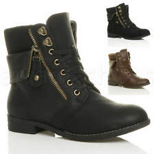 WOMENS LOW HEEL LACE UP KNITTED CUFF ZIP BIKER COMBAT ARMY MILITARY ANKLE BOOTS