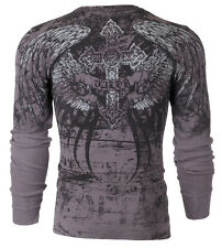 Xtreme Couture AFFLICTION Mens THERMAL T-Shirt ROT Tattoo Biker UFC M-3XL $58