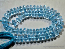 Micro Faceted Blue TOPAZ 6.5-7mm Rondelle Gemstone Beads (Pick-A-Lot)