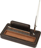 London Designs 48037 Brown Real Leather Card & Pen Holder HALF PRICE OFFER